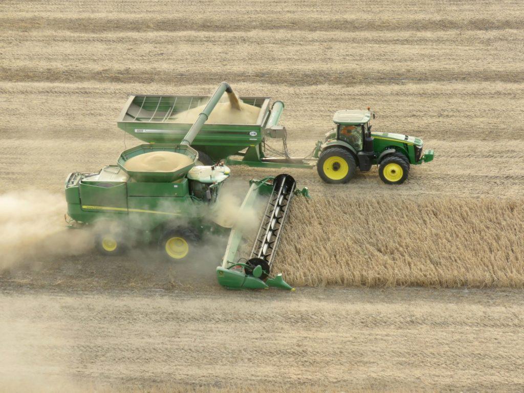 harvesting machine in a field